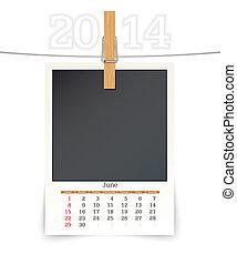 june 2014 photo frame calendar