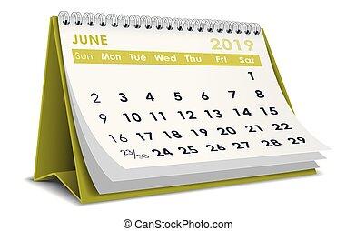June 2019 calendar - June 2019 3D desktop calendar in white ...