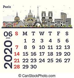 June 2020 Calendar Template with Paris City Skyline.
