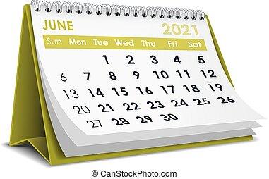 June 2021 Calendar - 3D desktop calendar June 2021 in white ...