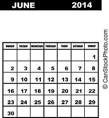 June calendar 2014 isolated