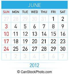 June Calendar. Illustration on white background for design
