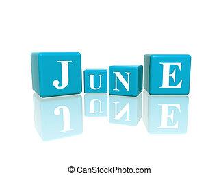 3d blue cubes with letters makes june