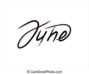 June Lettering Text on white background in vector illustration