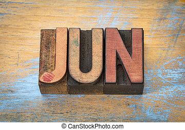 June month in vintage wood type