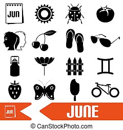 june month theme set of simple icons eps10