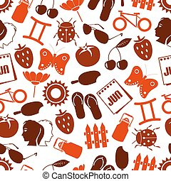june month theme set of simple icons red seamless pattern eps10
