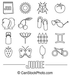 june month theme set of simple outline icons eps10