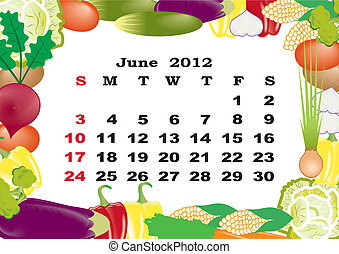 June - monthly calendar 2012 in colorful frame