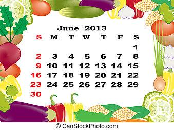 June - monthly calendar 2013 in frame with vegetables