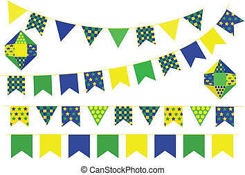 June party - Bunting banners flag. Decorative elements.