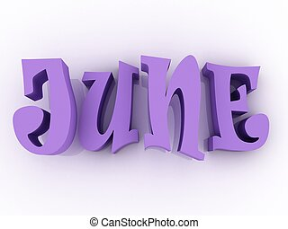 June sign with colour. 3d paper illustration.