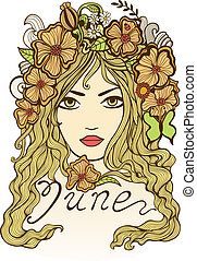 """June"" vector illustration. Beautiful girl and flowers"
