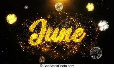 June Wishes Greetings card, Invitation, Celebration Firework...