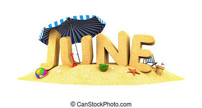 JUNE - word of sand. 3d illustration