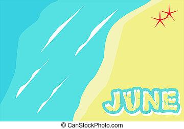 June written on the beach seen from above