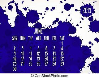 June year 2019 blue paint monthly calendar