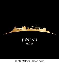 Juneau Alaska city silhouette black background - Juneau ...