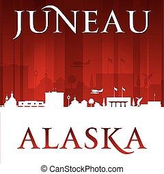Juneau Alaska city silhouette red background - Juneau Alaska...