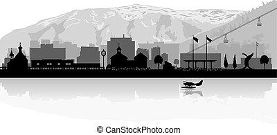 Juneau Alaska city skyline silhouette - Juneau Alaska city ...
