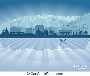 Juneau Alaska city skyline vector silhouette illustration