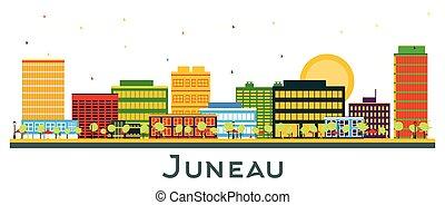 Juneau Alaska City Skyline with Color Buildings Isolated on ...