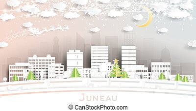 Juneau Alaska USA City Skyline in Paper Cut Style with ...