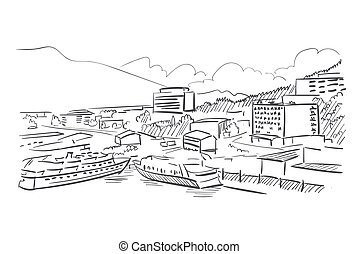 Juneau Alaska vector sketch line usa landscape hand drawn - ...