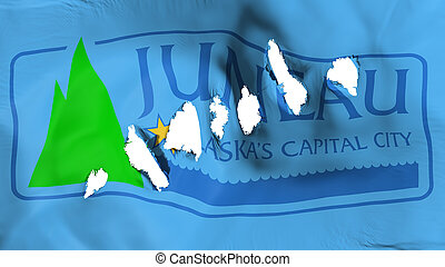 Juneau city capital flag perforated, bullet holes - Juneau ...