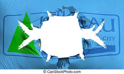 Juneau city capital flag with a big hole - Juneau city, ...