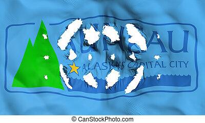 Juneau city capital flag with a small holes - Juneau city, ...