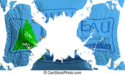 Juneau city capital torn flag fluttering in the wind - ...