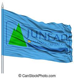 Juneau Flag on Flagpole, Waving on White Background - Juneau...
