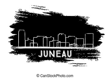 Juneau Skyline Silhouette. Hand Drawn Sketch.