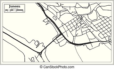 Juneau USA City Map in Retro Style. Outline Map. Vector ...