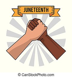 juneteenth day handshake color freedom celebration