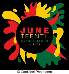 Juneteenth simple typography on a splash of abstract designs in national colors