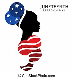 Patriotic Afro-american woman in traditional up-do historic hairstyle with abstract costume in national flag colors