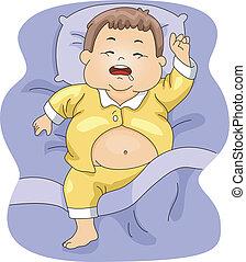 junge, übergewichtige , eingeschlafen