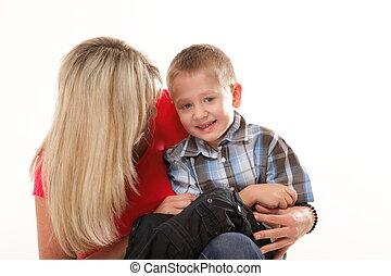 junge kind 6 freigestellt jahre f llig mutter portr t stockfotografie bilder und. Black Bedroom Furniture Sets. Home Design Ideas