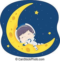 junge, abbildung, mond, schlaf, astronaut, kind