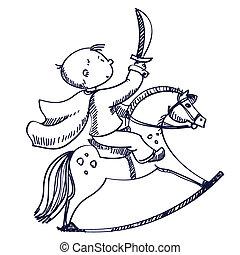 junge, abbildung, pferd, vektor