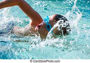junge, an, schwimmender, practice.