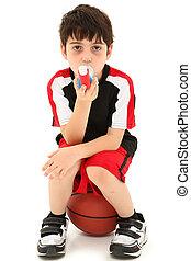 junge, asthma- angriff, kind, inhalationsapparat, veranlaßt, übung