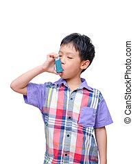 junge, asthma, krank, asiatisch, hintergrund, inhalationsapparat benutzend, weißes