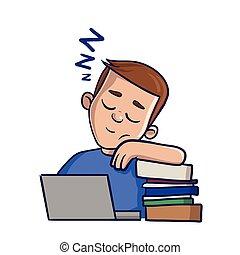 junge, augenpaar, image., wohnung, books., schläfrig, backgroud., abbildung, freigestellt, vektor, geschlossene, front, weißes, karikatur