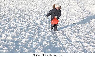 Junge, beendet, verschneiter, Klettert, clipart...