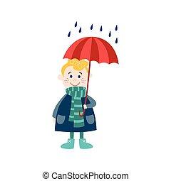junge, beibehaltung, schirm, regen, hand, vektor, unter