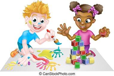 Junge, Blöcke, spielende, m�dchen, gemälde, karikatur