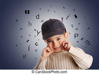 junge, briefe, alphabet, jeansstoff, kappe, hintergrund